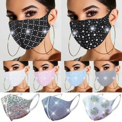 3D Embellished Sparkly Rhinestone Crystal Glitter Bling Resuable Face Mask Cover $5.95