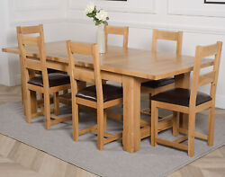Duke Chunky Oak Extendable Dining Table W/ 6 8 Or 10 Lincoln Oak Chairs