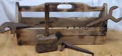 Vtg Railroad Blacksmith Rr Toolbox Mallet Box Wrench Forged Cast Iron Tools Vise