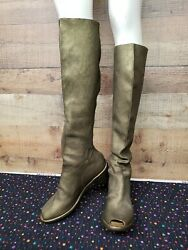 Guidi Tall Peep Toe Boot Gold-bronze Womenand039s Boots Shoes Size 40 New With Box