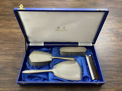 Mappin And Webb Sterling Silver Hallmarked Boxed Dressing Table Vanity Set 1958
