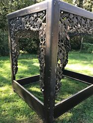 Rare Vtg Canopy Asian Opium Bed Mirrored Ceiling Lights Carved Grapevines Exotic