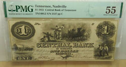 1855 5 The Central Bank - Nashville Tennessee Banknote Pmg Au 55 Bcs/001g