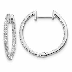 14k Gold Diamond In And Out Hinged Hoop Earrings, 0.80ctw Msrp 2954