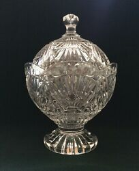 Shannon Crystal Heavy Covered Candy Dish Footed Bowl With Lid By Godinger 2903