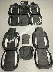 Ram 1500 Big Horn Lone Star Crew Cab Black And Silver Custom Leather Seat Covers