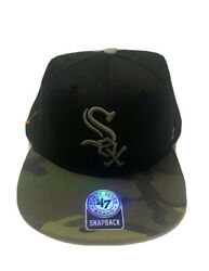 New Chicago White Sox Snap Back Hat, Mlb Authentic 47 Brand, Black, Grey Camo