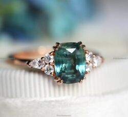 14k Gold Sapphire Diamond Vintage Style Cocktail Engagement Ring For Women