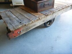 Vintage Railroad Factory Wood Cart Coffee Table Steam Punk Industrial Antique
