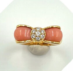 And Vintage 18k Yellow Gold Coral Diamond Bow Ring