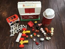 Lot Vintage Fisher Price Little People Farm Play Set Figures Toy Animals Barn