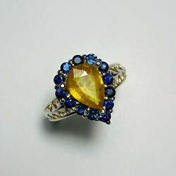 Natural Sunny Yellow Sapphire 925 Silver /14k 18k Gold Platinum Engagement Ring