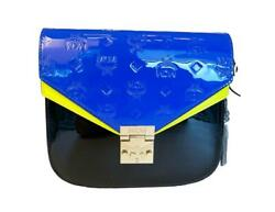 Mcm Women's Patricia Monogrammed Patent Leather Satchel - Black And Blue