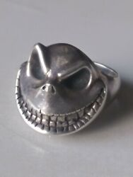Vintage Nightmare Before Christmas Sinister Jack Sz 9.5 Silver Ring Collectible