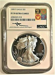 1999-p Proof Silver Eagle-ngc Pf70uc-mercanti-art Label-population Only 11