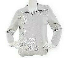 Alfred Dunner Petite Eskimo Kiss Sweater Top Embroidery