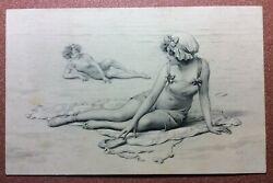 Antique Vienne Postcard 1909s Relax On The Beach. Couple Of Girls In Swimwear