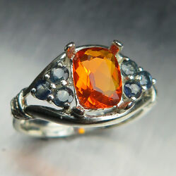 0.7ct Natural Mexican Fire Opal And Sapphires 925 Sterling Silver / Gold Ring