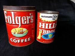 Folgers Metal Coffee Can 1952 Canco 2lb And 1 Lb Hills Bros Kitchen Decor Vintage