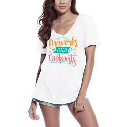 Ultrabasic Womenand039s T-shirt Fireworks And Cookouts - Short Sleeve Tee Shirt Tops