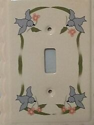 Ceramic Light Switch Covers 2 With Blue Birds Flying Around 5 1/2 X 4 2005
