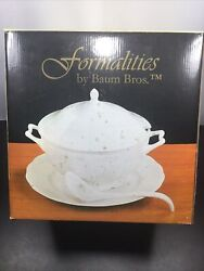 Formalities By Baum Bros Fine Porcelain Soup Tureen With Plater And Ladle New