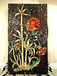 Vintag Glass And Pottery Mosaic On Plywood Board 28x16 Flower And Bamboo Wall Art