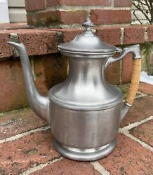 Vtg Nantucket Pewter Kettle Coffee Tea Hand Wrought Tavern Cane Wrapped Handle