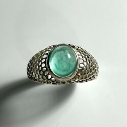 Natural Colombian Emerald 925 Silver /14k 18k Gold Unisex Honey Comb Ring