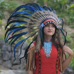 Indian Headdress Warbonnet Small Blue Feather White Fur Native American Bilabong