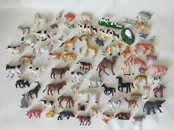 Lot Of 76 Vintage And Actual Animals Mixed Figures Toys Birds Farm Zoo Plastic