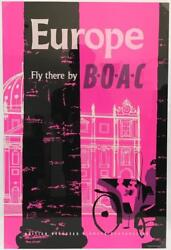 1960s Europe Fly There Boac British Overseas Airways Co Airline Travel Poster Ad
