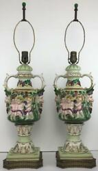 Large Pair Capodimonte Hollywood Regency Angel Green Gilt Figural Table Lamps