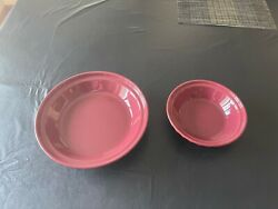 """Longaberger Pottery Paprika 10"""" Pie Plate And 7 Pie Plate Lot Of 2 Pie Plates"""