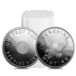 Roll Of 20 - 1 Oz Sunshine Mint Silver Round .999 Fine Lot, Tube Of 20