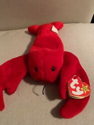Ty Beanie Baby - Retired 1993 - Pinchers The Red Crab - Pvc, China
