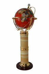Illuminated Red - World Globe Rotated By A Motor - Size 19l X 19w X 42h.