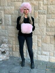 Fancy Womens Russian Style Pink 100 Arctic Fox Fur Hat And Hand Warmer Muff/purse