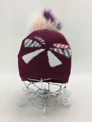 Fendi Knit Cap Monster Fur Free Size Wool Bordeaux Made In Italy From Japan Used