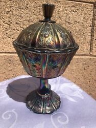 Vintage Iridescent Red Fenton Compote Stemmed Candy Dish Carnival Glass