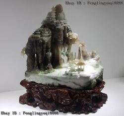 13 China Dushan Jade Lofty Mountains Rivers Boat Old Man Fishing Art Sculpture