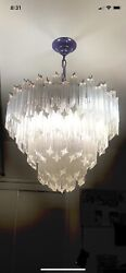 Mid 1970and039s Vintage Camer Murano Venini Chandelier With 135 Crystals