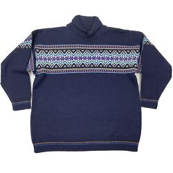 Devold Vintage Made In Norway Blue Wool Nordic Pullover Sweater Size Medium