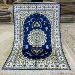Yilong 4'x6' Blue Handmade Carpets Living Room Hand Knotted Silk Porch Rugs 142c