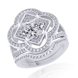 1.46 Ct Simulated Princess Cut 14k White Gold Flower Engagement And Wedding Rings