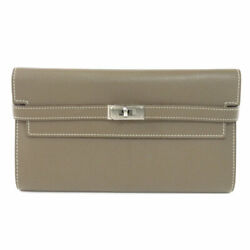 Hermes  Long Wallet With Coin Pocket Kelly Wallet Long Silverhardware Eto...