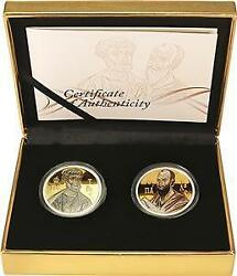 Niue 2010 2 Apostles Peter And Paul 2 X 1oz Silver Gold Plating Coin Set