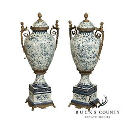 Qua. Louis Xvi Style Blue And White Porcelain Pair Bronze Mounted Tall Urns, Vases
