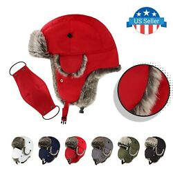 Water Resistant Trapper Hat Face Mask Unisex Premium Quality Russian Bomber Hats