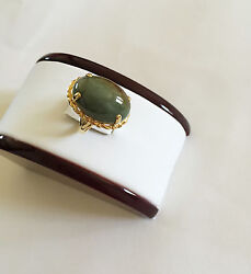 18k Solid Real Yellow Gold Oval Natural Jade Women Ring - Size 7.75 - R255